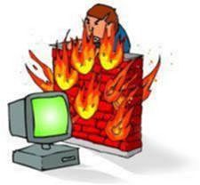 Cartoon of leterally a wall on fire next to a computer monitor.